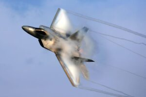 US Air Force F-22 Raptor with Vapor